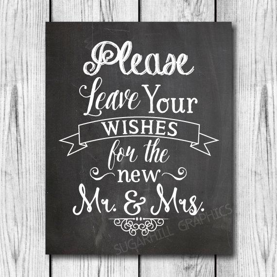 Hochzeit - Chalkboard Wedding Sign, Printable Wedding Sign, Wedding Leave Your Wishes Sign, Wedding Decor, Instant Download, Wedding Guest Book Sign