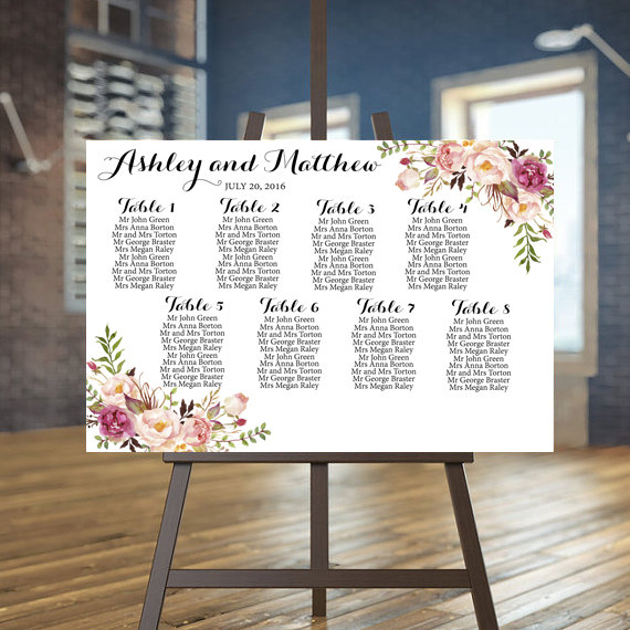 Wedding Seating Chart Printable Rustic Guests List Fl Plan Guest Custom Sign