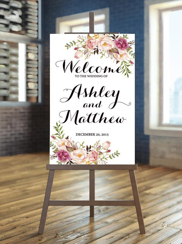 Printable Wedding Sign Welcome Fl Boho Rustic