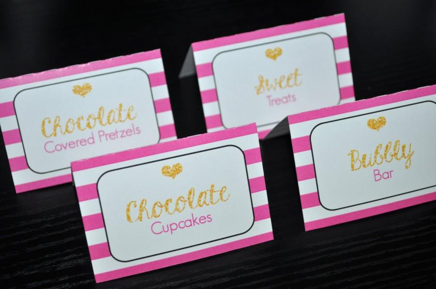 Свадьба - Food Label Cards - Buffet, Candy Labels - Bachelorette, Bridal Shower, Wedding - Pink, Black and Gold Heart Kate Spade Inspired - Set of 12