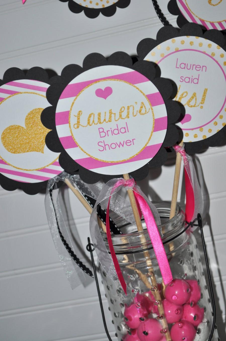 bridal shower centerpiece sticks bachelorette party pink black and gold heart kate spade inspired bridal shower wedding set of 3