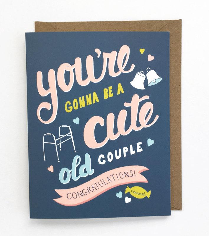 Hochzeit - Funny Wedding Card -  Friend Wedding Card, Sweet Wedding Card, Funny Engagement Card, Old Couple