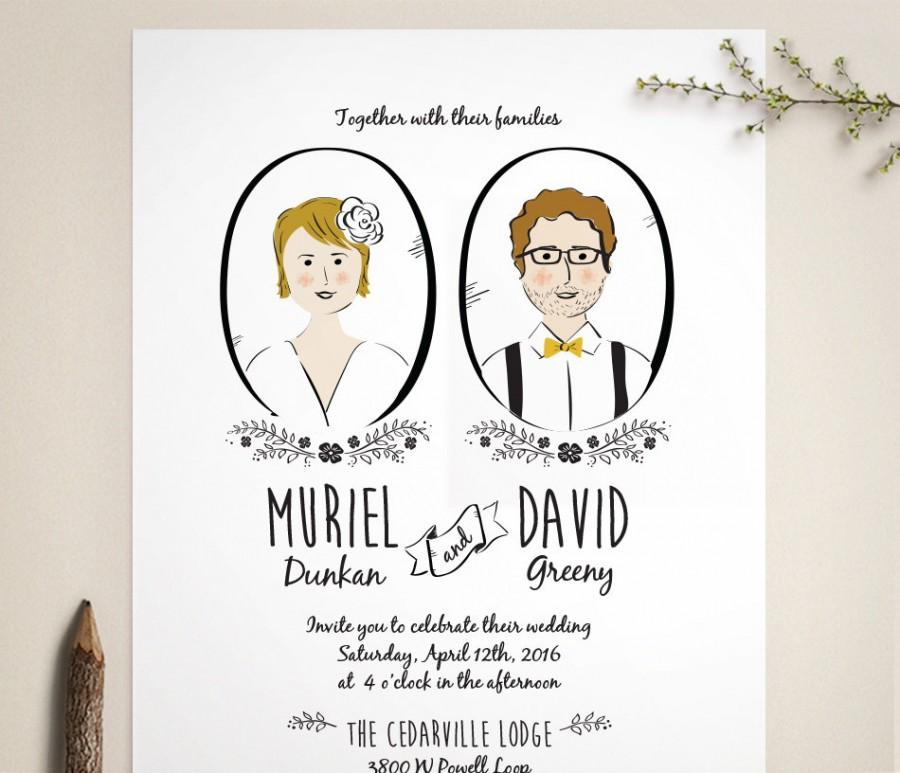 Custom Portrait Wedding Invitation And RSVP - Illustration ...