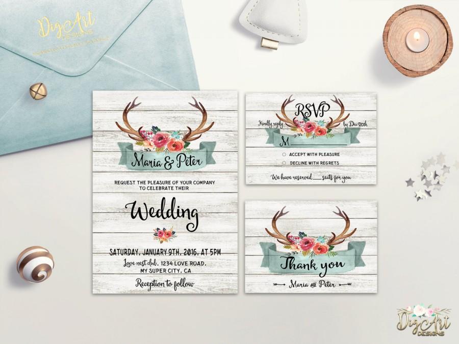 Rustic Wedding Invitation Printable Antlers Wedding Invitation