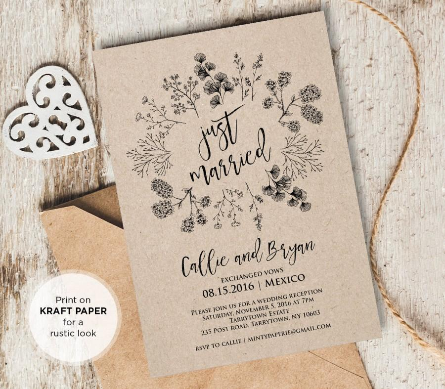 Just Married Elope Announcement Printable Rustic Wedding Elopement