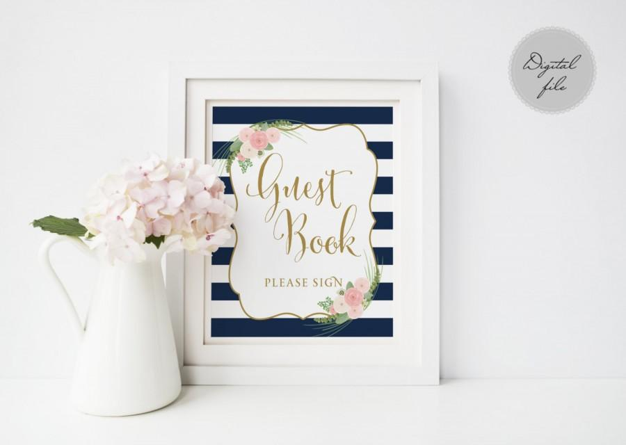 Свадьба - Printable wedding guest book sign, Wedding guest book sign, Navy striped guest book sign printable,  Instant download,The Shirley collection