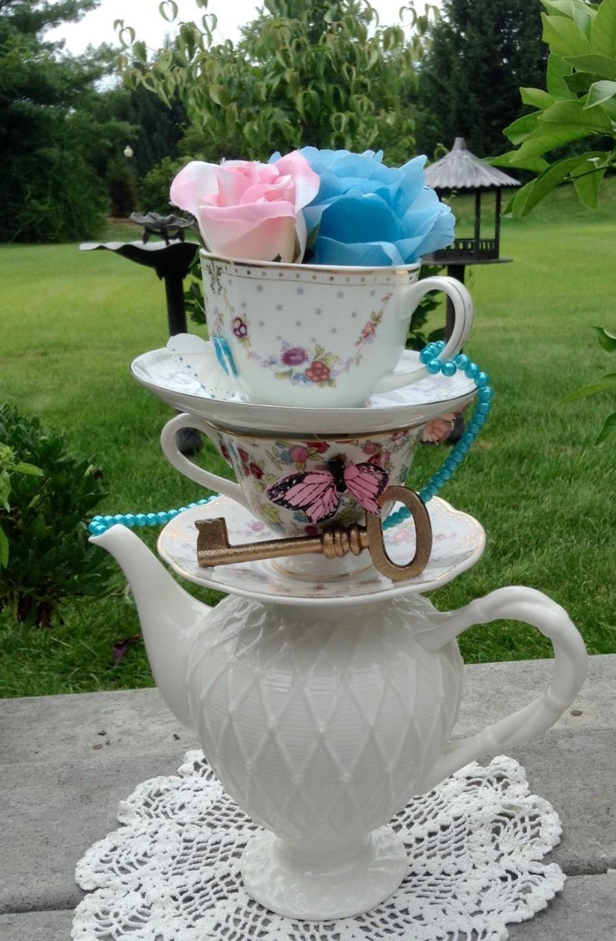 Wedding - PINK or BLUE? Stacked Teapot & Teacup Centerpiece - Pearls, Key, Butterflies, Rose - Alice in Wonderland Baby Shower, Mad Hatter Tea Party