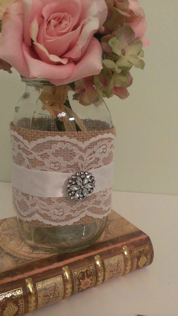 زفاف - Rustic Wedding Centerpiece Burlap And Lace Wedding Mason Jar Centerpiece Burlap And Brooch Set Of 6