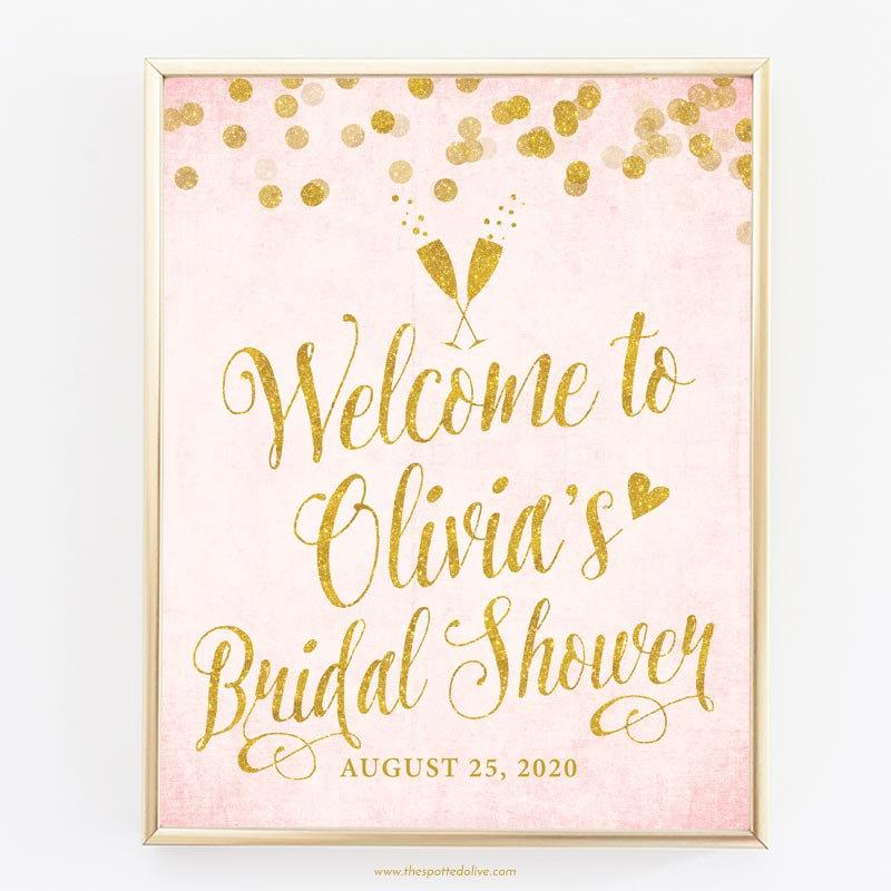 "Boda - Blush Pink & Gold Welcome Sign - Personalized 8"" x 10"" Bridal Shower Sign - DIY Printable File - Digital Glitter -11x14, 16x20, 20x24, 24x30"