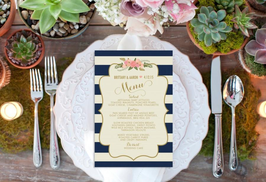 زفاف - Custom Wedding Menu // Reception // Stripe Vintage Wedding Decor // Nautical Wedding // Reception Menu // Dinner Menu // Wedding Menu Card