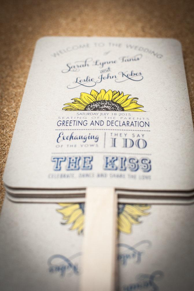 Wedding - Wedding Program Fans, Sunflower Wedding Program, Order of Service Fan, Wedding Fan, Custom Wedding program fan,