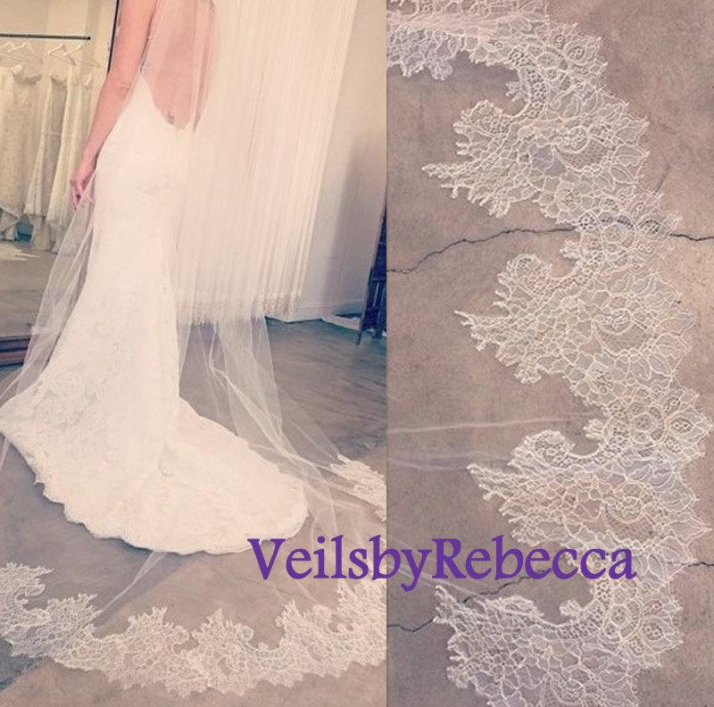 Mariage - Ready to Ship Lace Veil-1 tier cathedral lace veil, french chantailly lace cathedral veil,stock cathedral wedding veil, lace bottom veil
