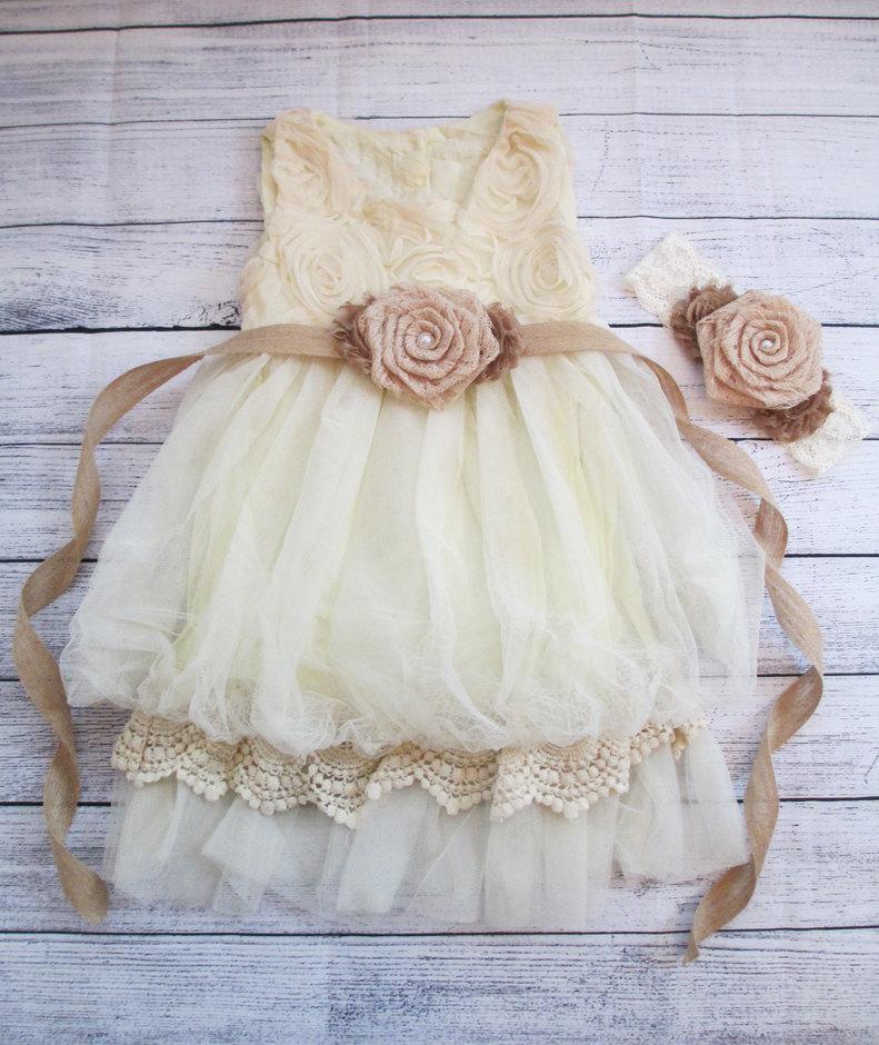 زفاف - Rustic Flower Girl Dress, Ivory Flower Girl Dress, Rustic Burlap Flower Sash, Chiffon Rosette Girls Dress