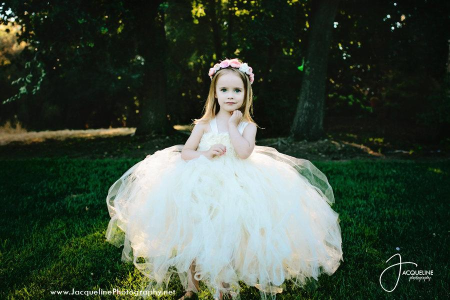 زفاف - Ivory Flower Girl Dress Tulle Dress Wedding Dress Birthday Dress Toddler Tutu Dress 1t 2t 3t 4t 5t Morden Wedding