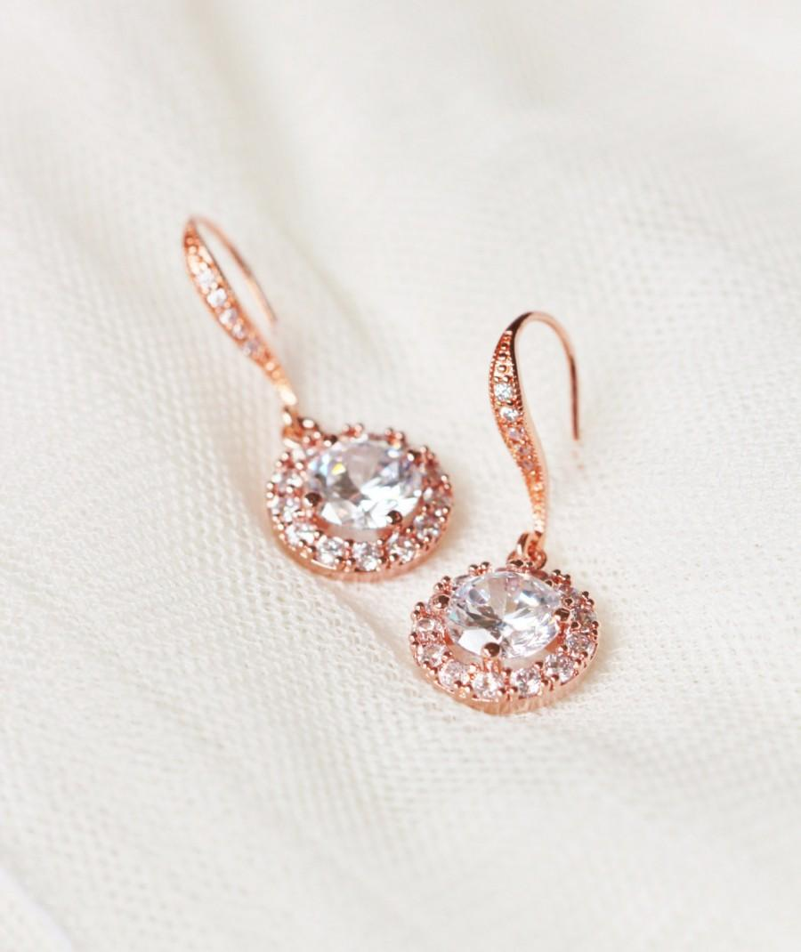 Rose Gold Bridal Earrings Wedding Jewelry Round Cz Drop Bridesmaid Gift Crystal