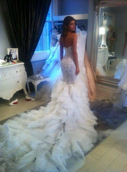 زفاف - 2015 Sexy Charming Organza Mermaid Wedding Dress Custom Made