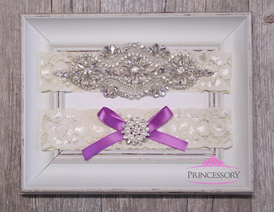 Hochzeit - Wedding Garter, Bridal Garter Set, Rhinestone Garter, Garter Wedding,Plus Size Garter, Lace Garter, Wedding Garter Set WG25