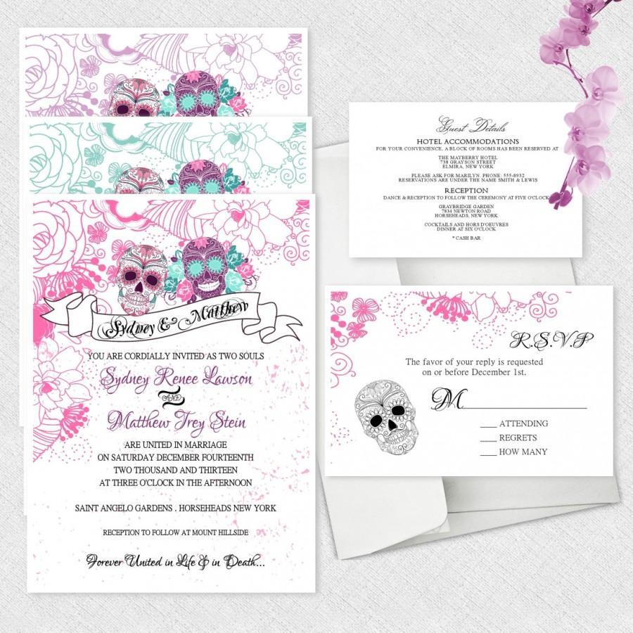 Sugar Skull Wedding Invitations Day Of The Dead Invitation Dia De ...