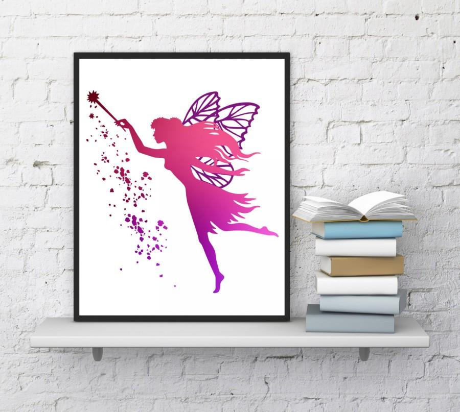 Fairy Wall Art fairy wall art, fairy print, pink fairy, girls room decor