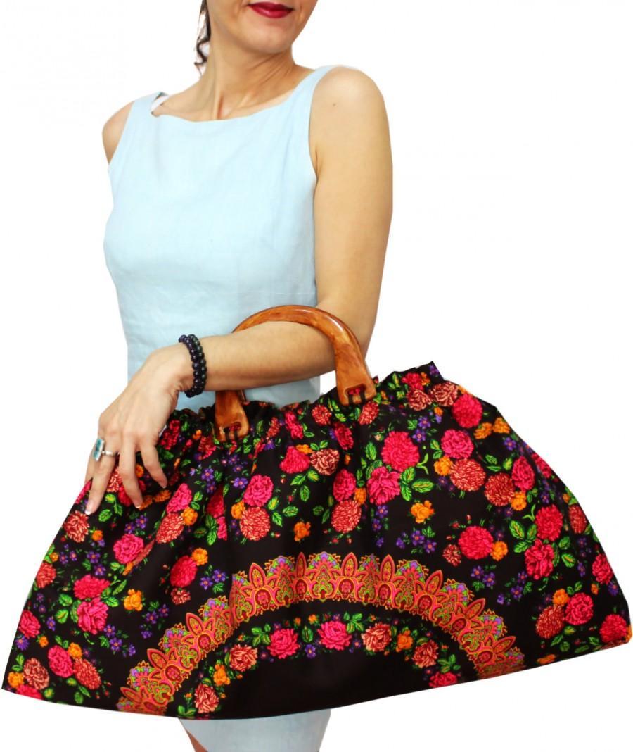 Boda - Wooden Handle Tote Bag, Organic Large Hobo Bag, Vibrant colors Floral Triangle Bag, Scarf Bag, Brown Summer Bag