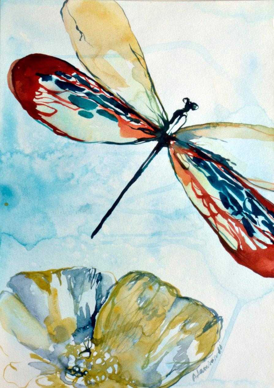 Dragonfly Watercolor Original Painting. Contemporary Water Colour ...