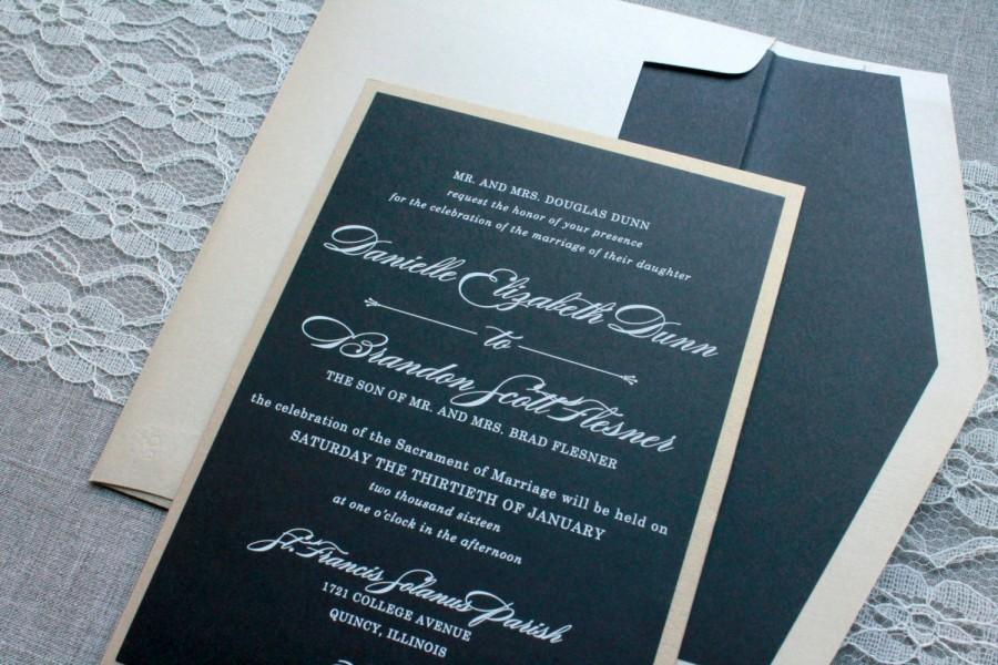 Wedding - Black and Gold Wedding Invitation - Black Pocket Invitation, Formal Invitation, Custom Invitation, Traditional Invite - Danielle and Brandon