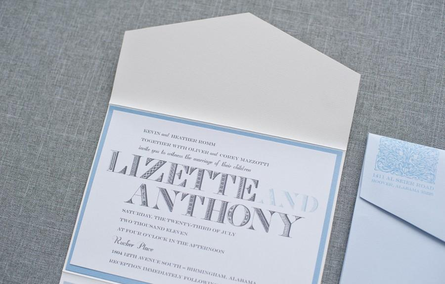 Wedding - Vintage Wedding Invitation - Light Blue Pocket Invitation Suite - Formal Invitation, Classic Invitation, Custom - Lizette and Anthony