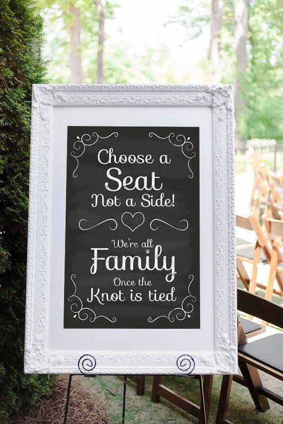 Wedding - Pick a Seat Not a Side, Wedding Seating Sign, Wedding Ceremony Sign, Choose A Seat Not A Side, Printable Chalkboard Sign