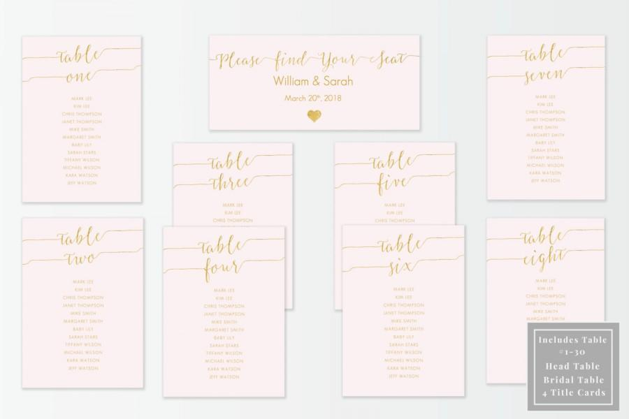 Blush And Gold Slant Seating Chart Kit Printable Diy Template Editable In Microsoft Word 1 30 Included Les Special Tables 5x7