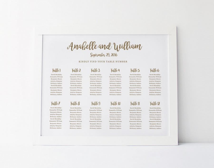 Wedding Seating Chart Template, Seating Plan, Floral Seating Chart