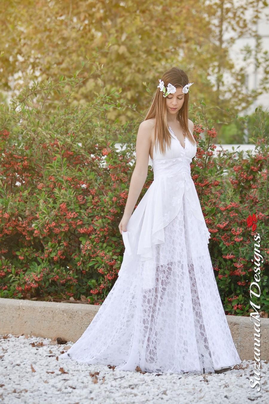 زفاف - Wedding Gown, SuzannaM Designs, Assymetric Wedding Dress, Chiffon Wedding Gown, Long White Gown, Lace Wedding Dress, Open Back Dress, Elise