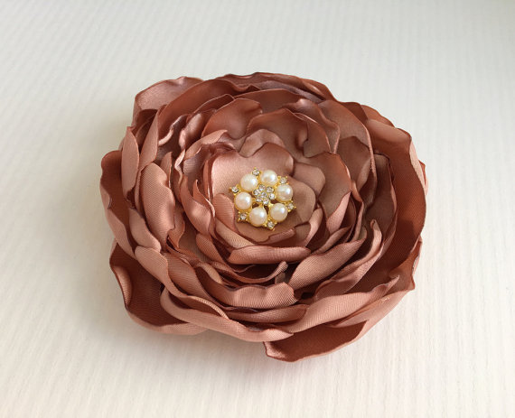 Rose Gold Flower HeadpieceRose Gold BroochPinFlower Hair ClipBridal Hair PieceBride
