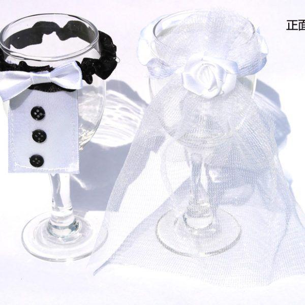 Bride Groom Tux Bridal Veil Wedding Party Toasting Wine Glasses