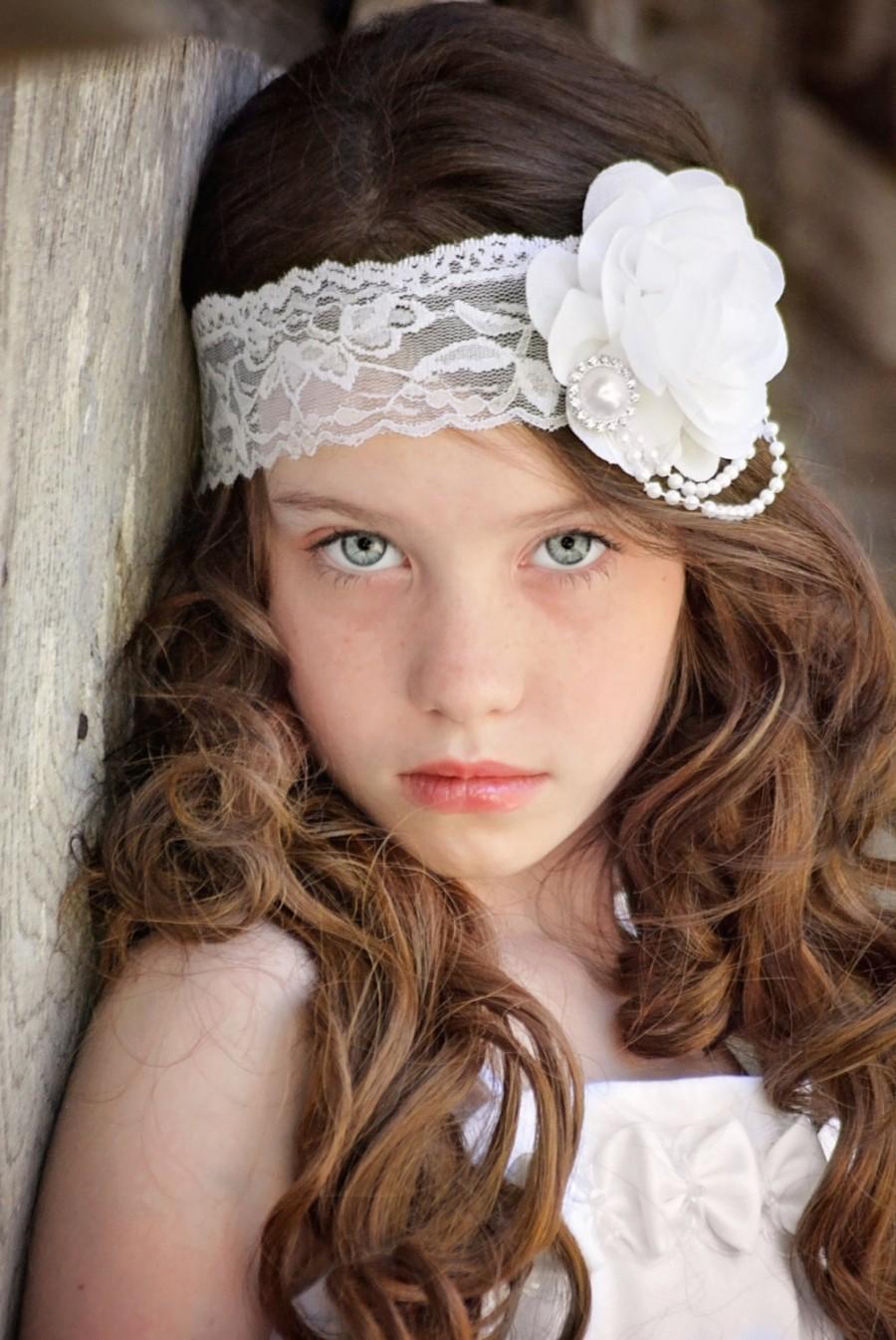White Rose Headband Flower Girl Headband White Bridal