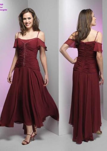 Wedding - Spaghetti Straps Zipper Burgundy Ruched Sleeveless High Low
