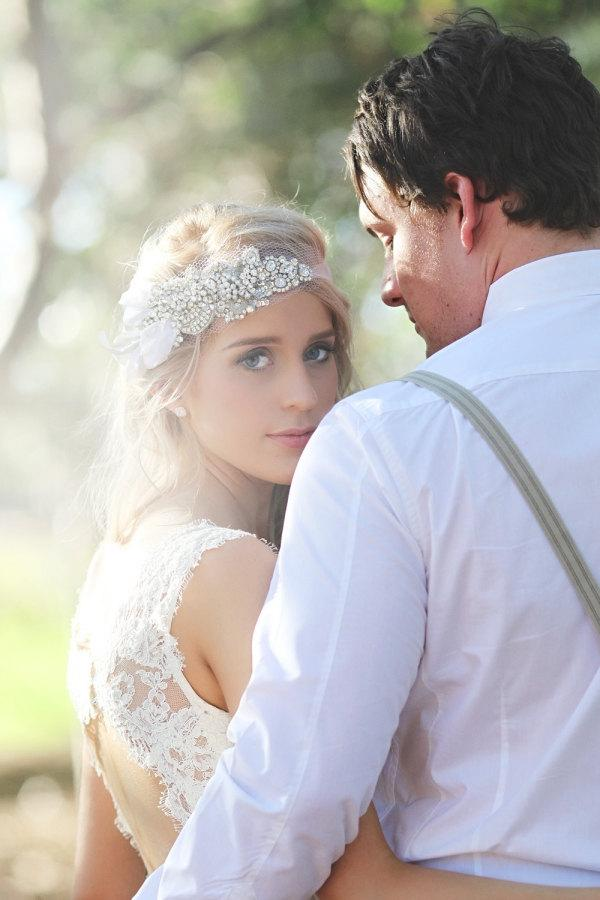 Свадьба - Bridal Bandeau with Crystal, Sequin and Beading on Tulle - The Caitlin