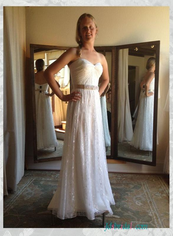 H1550 Gorgeous Simple Soft Lace Strapless Wedding Dress