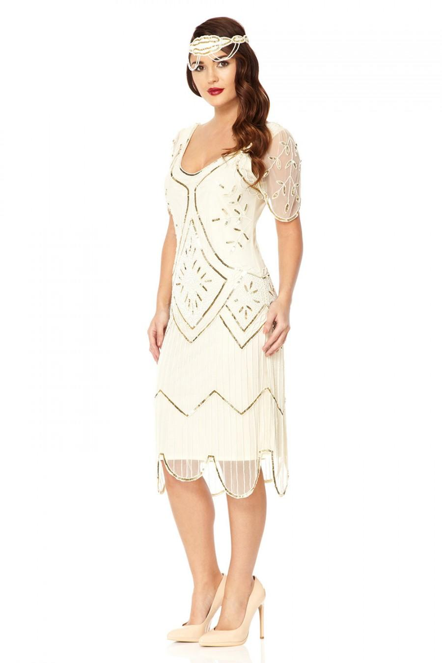 زفاف - US10 UK14 AUS14 EU42 Ivy White Flapper Wedding Dress 1920s inspired Gatsby Charleston Downton Abbey Art Deco Bridal shower Rehearsal dinner