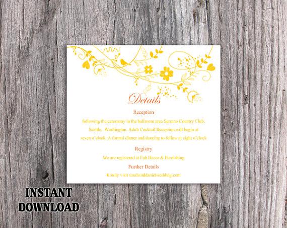 Свадьба - DIY Wedding Details Card Template Editable Word File Instant Download Printable Details Card Yellow Details Card Elegant Information Cards