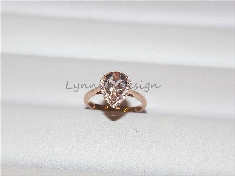 14K Rose Gold Ring 1 35ct Pear Shaped Light Pink Morganite Diamond Engagement
