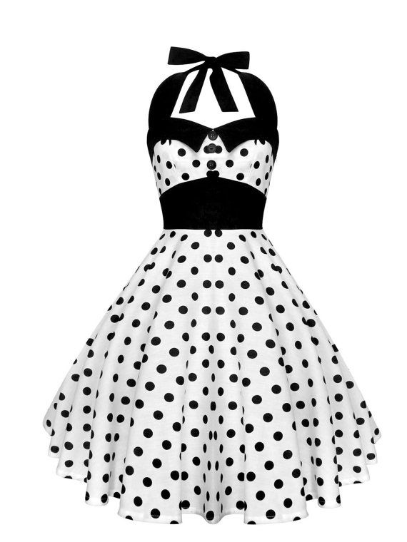 White Polka Dot Dress Pinup Dress Rockabilly Dress Halter Vintage