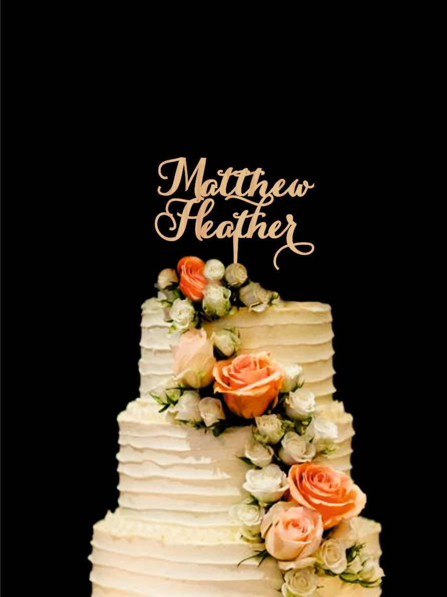 Hochzeit - Personalized Cake Topper Wedding Cake Topper Names Bride and Groom Cake Topper