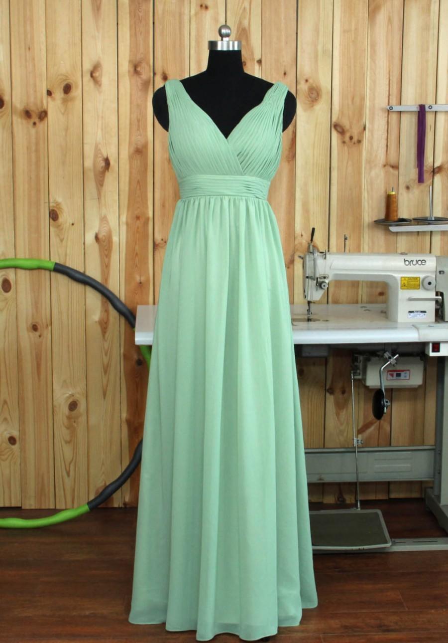 Wedding - Dusty Shale Bridesmaid dress, Deep V neck V back Dress, Evening dress Wedding dress, Party dress, Long Chiffon Prom dress floor length