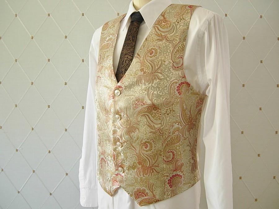 Свадьба - Men's Vest, Brocade, Champagne Vest, Gold Vest, Wedding Vest, Groom Vest, Groomsmen Vest, Men's Waistcoat, Men's Suit, Groom's Vest