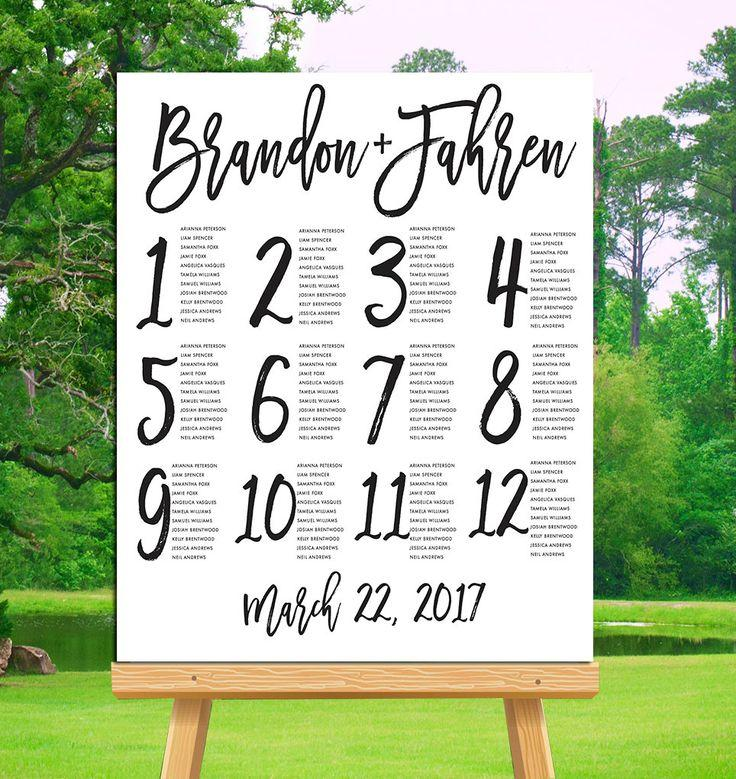Wedding seating chart poster template free 2