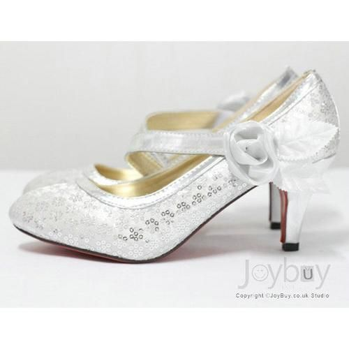 White Wedding Shoes Low Heel