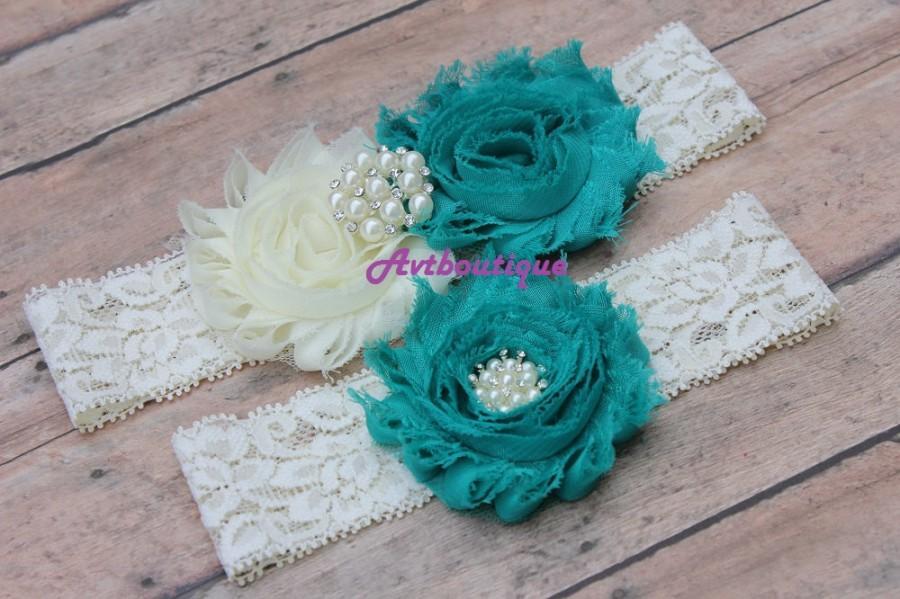 Hochzeit - Teal garter  - teal wedding garter - lace coral garter - wedding garter - garter wedding -  bridal garter -  stretchy garter - garter set