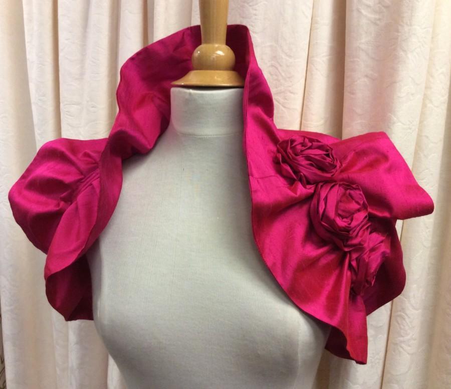 زفاف - Wedding Wrap Victoriana Cerise Pink 100% Silk Bridal  Ruffled Shrug with Rose Trim .