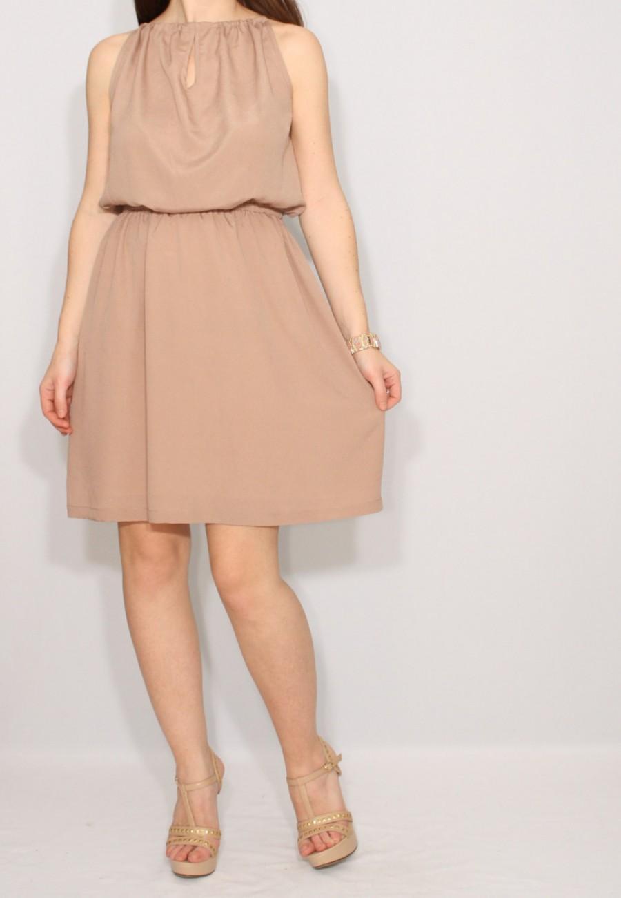 brown chiffon dress short