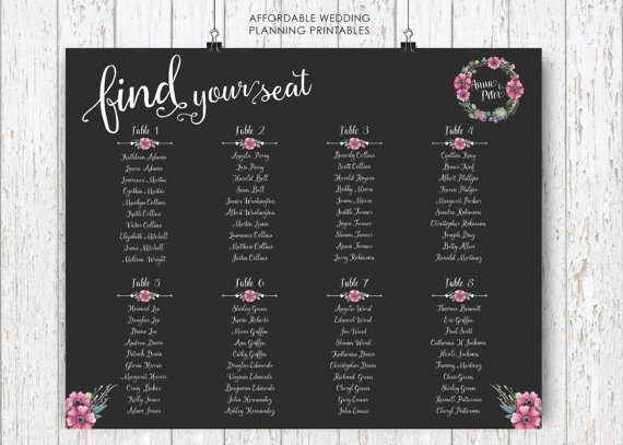 Wedding Seating Plan Seating Arrangements Diy Wedding Seating